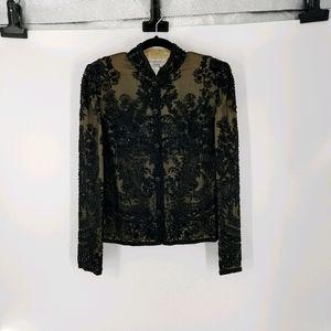 Adrianna Papell Evening Beaded Silk Jacket